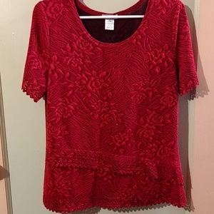 Belle Amie Pullover Blouse Red Good Condition